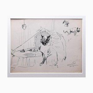 Marie Paulette Lagosse, Los gatos, Pluma sobre papel, años 70