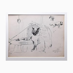 Marie Paulette Lagosse, The Cats, Pen on Paper, 1970s