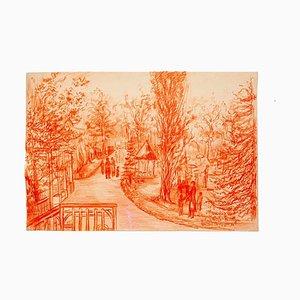 Gustave Bourgogne, Barbizon, dessin au crayon, 1933