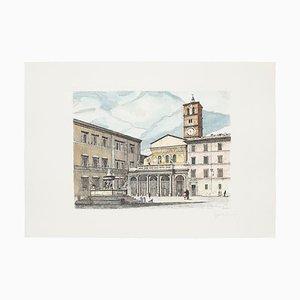 Giuseppe Malandrino, paisaje romano, aguafuerte, años 70