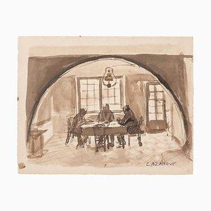 Raymond Cazanove, Intérieur, Aquarelle, Milieu du XXe siècle
