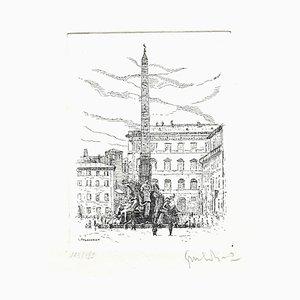 Giuseppe Malandrino, Navona Square, Radierung, 1970er