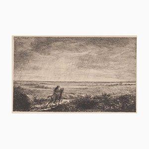 Alphonse Edouard Enguerand Aufray de Roc'bhian, cavalier, eau-forte, 1875