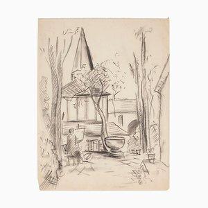 Manfredo Borsi, Ansicht der Kirche, Bleistiftzeichnung, 1940