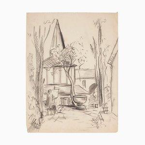 Manfredo Borsi, Vista de la iglesia, dibujo a lápiz, 1940