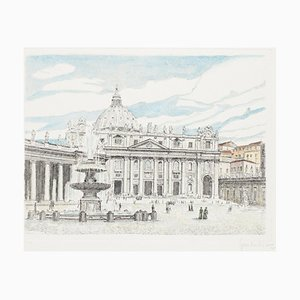 Giuseppe Malandrino, St. Peter's Square, Etching, 1970s