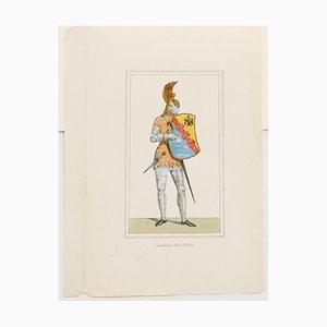 Unbekannte, Cavalier Hand-Farb Lithographie, 19. Jahrhundert