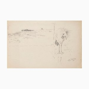 Unknown, Landscape with Bird, Pencil Drawing, 20th Century
