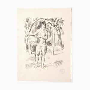 Inconnu, cueilleur de fruits, lithographie, milieu du 20e siècle