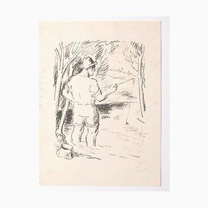 Inconnu, le pêcheur, lithographie, milieu du XXe siècle