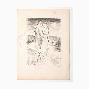 Inconnu, les amoureux, lithographie, milieu du 20e siècle
