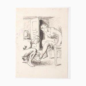 Inconnu, la courtoisie, lithographie, milieu du XXe siècle