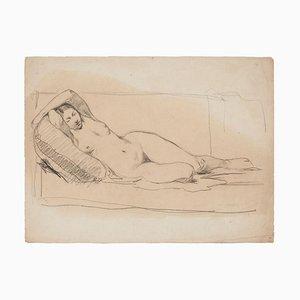 Desconocida, mujer desnuda, dibujo a lápiz, principios del siglo XX