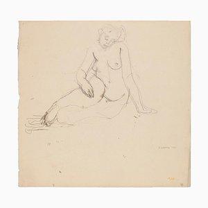 Inconnu, Femme nue, Dessin au crayon, début XXe siècle