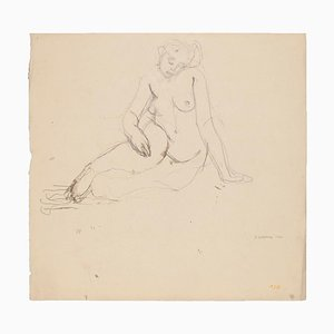 Unknown, Nude Woman, Drawing in Pencil, Early 20th Century