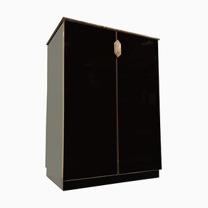 Black Glass Bar in the Style of Maison Jansen, 1970s