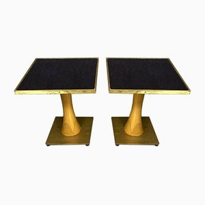 Art Deco Gilded Brass Coffee Tables in the Style of Maison Bagués, 1940s, Set of 2