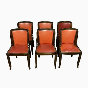 Art Deco Rosewood Dining Chairs, 1930s, Set of 6