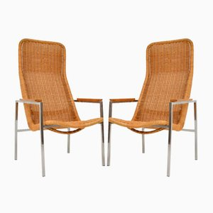 Vintage Chrome & Rattan Armchairs by Dirk van Sliedregt for Gebroeders Jonkers Noordwolde, 1960s, Set of 2