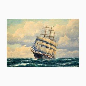 Pintura al óleo náutica antigua