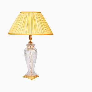 Large Vintage Gilt Bronze & Crystal Lamp, 1950s