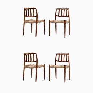 Dänische Gepolsterte Esszimmerstühle von Niels Otto Møller, 1950er, 4er Set