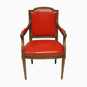 Louis XVI Style Armchair in Red Leather, 1930s