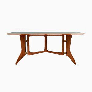Sculptural Dining Table in Teak, Brass and Glass, Italy, 1950