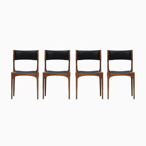 Italian Oak and Faux Leather Dining Chairs by Giuseppe Gibelli for Luigi Sormani, 1962, Set of 4