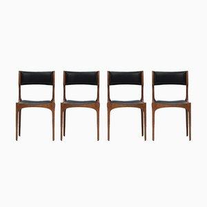 Italienische Esszimmerstühle aus Eiche & Kunstleder von Giuseppe Gibelli für Luigi Sormani, 1962, 4er Set