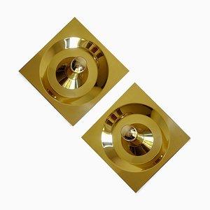 Large Mid-Century Brass Sconces by Klaus Hempel for Kaiser Idell / Kaiser Leuchten, Set of 2