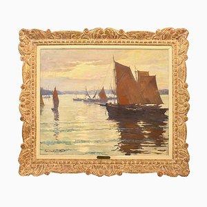 Paesaggio marino Art Déco con barche a vela, olio su tela, XX secolo