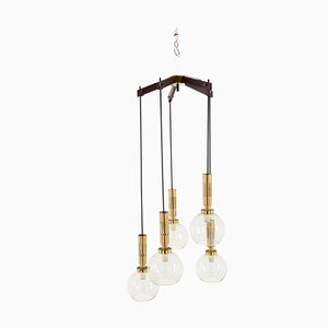 Glass, Wood, Iron & Brass Ceiling Lamp from Stilnovo, 1950s