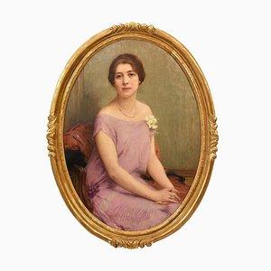 Art Deco Woman Portrait Painting, 20th Century, Oil on Canvas