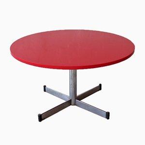 Tavolino da caffè con ripiano in pietra rossa e base in acciaio, anni '50