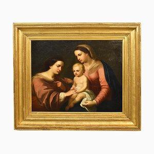 Pintura de arte cristiano, matrimonio místico de Santa Caterina, siglo XIX