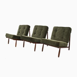 Swedish Beech Lounge Chairs by Alf Svensson for Dux, 1952, Set of 3
