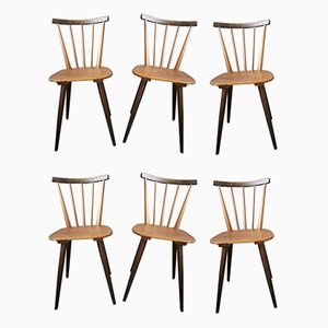 Scandinavian Bi-Color Dining Chairs, 1950s, Set of 6