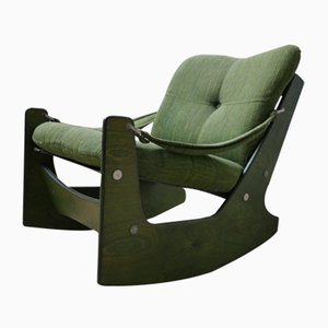 Mid-Century Green Rocking Armchair