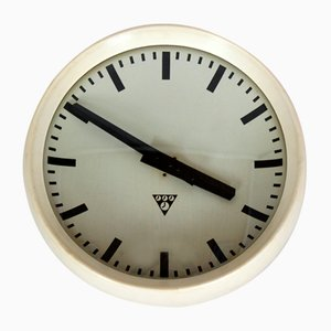 White Bakelite Railway Clock from Pragotron, 1950s