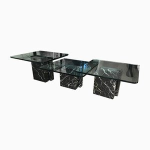 Italian Marble & Crystal Glass Side Tables by Giovanni Offredi for Saporiti Italia, 1970s, Set of 3