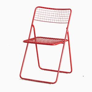 Silla plegable Ted Net en rojo de Niels Gammelgaard para Ikea, años 70