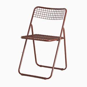 Silla plegable Ted Net en marrón de Niels Gammelgaard para Ikea, años 70