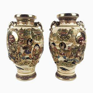 Antique Satsuma Vases, 1900s, Set of 2