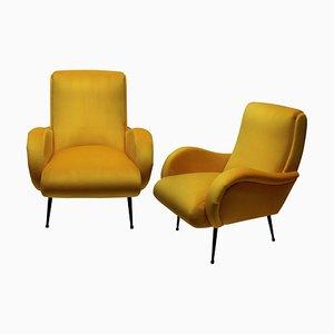Italian Yellow Velvet Armchairs, 1950s, Set of 2