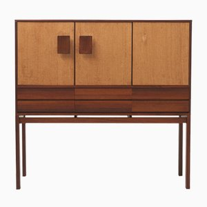 Mid-Century Rosewood High Cabinet with Seagrass Doors by Inger Klingenberg for Fristho, Netherlands, 1950s