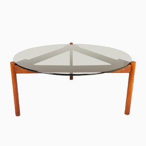 Danish Modern Teak and Glass Coffee Table from Komfort, 1960s