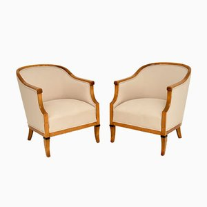 Antique Swedish Satin Birch Armchairs, Set of 2