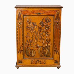 Small Antique English Art Nouveau Smoker's Cabinet, 1890s