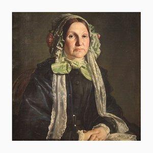 Antico dipinto francese ritratto di donna, XIX secolo